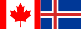 Canada-Iceland flags joined